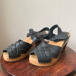 No. 6 Black Woven Leather Wooden Clog Platforms